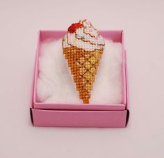 Items similar to Ice-cream cross stitch Brooch. for on Etsy Wedding Favors, Party Wedding, Bridesmaid Gifts, Cross Stitch Patterns, Ice Cream, Retro, Unique Jewelry, Handmade Gifts, Lovers Gift