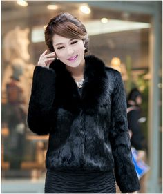 Buy from china:2015 fashion Lady Faux fur coat sleeve faux medium-long women's winter overcoat girl's warm outerwear autumn jackets rabbit
