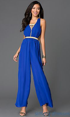 Royal Blue Sleeveless Jumpsuit with Open Back at SimplyDresses.com