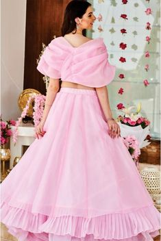 Baby Pink Organza Lehenga with the cute blouse. Party Wear Indian Dresses, Designer Party Wear Dresses, Indian Gowns Dresses, Dress Indian Style, Indian Fashion Dresses, Indian Designer Outfits, Fashion Outfits, Fashion Clothes, Designer Wear
