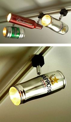 "Track lighting made from beer cans. So cool for a ""man cave"" or game room. *file in brain under cool things to show the bf for his basement bar - Home Decor Fashions Beer Bottle Lights, Beer Bottles, Deco Originale, Ideias Diy, Can Lights, Spot Lights, Grid Design, Game Room, Track Lighting"