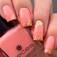 Gold and Peach Nail Art Design Idea - Peach Nail Art, Peach Nails, Nail Art Designs 2016, Cute Nail Designs, Classy Nails, Stylish Nails, Hot Nails, Hair And Nails, The Art Of Nails
