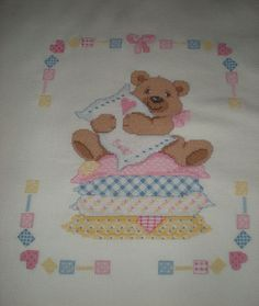 Particolare copertina lana - Dall'album di Paola.apo Baby Cross Stitch Patterns, Cross Stitch Baby, Santa Cross Stitch, Cot Sheets, Coloring Pages, Alice, Baby Boy, Teddy Bear, Kids Rugs
