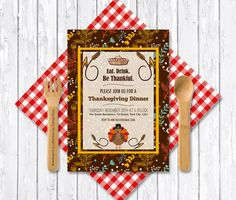Thanksgiving Invitation Printable Digital File  by tranquillina, $15.00