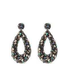 Deepa Gurnani Deepa By Karen Earrings In Teal Teal Blue, Blue And Silver, Deepa Gurnani, Stones And Crystals, World Of Fashion, Ear Piercings, Luxury Branding, Women Accessories, Crochet Earrings