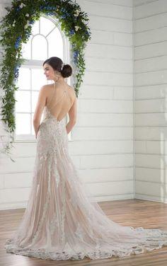 D2432 High-Neck Boho Wedding Dress by Essense of Australia