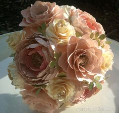 Paper Flower Bouquet - Wedding Bouquet - Shabby Chic - Pink and Ivory - Made to Order - Any Color Combo on Etsy, How To Make Paper Flowers, Paper Flowers Wedding, Bridal Flowers, Lace Flowers, Flower Bouquet Wedding, Fabric Flowers, Floral Wedding, Paper Flower Arrangements, Paper Bouquet