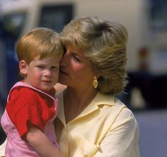 Diana, Princess of Wales sharing an adorable moment with her son, Prince Harry, in Majorca, Spain, August 10, 1987.