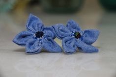 Flower Sterling silver Stud blue jean fabric earrings Check out this item in my Etsy shop https://www.etsy.com/listing/452222726/flower-stud-jean-vintage-style-earrings