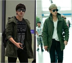TVXQ U-Know X BIGBANG T.O.P 👉 who could choose between these two?! They both are so manly sexy 😍😍 But in this jacket i think Yunho wins