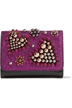 Christian Louboutin - Macaron Mini Embellished Metallic Raffia And Patent-leather Wallet - Magenta - one size