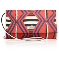 COACH Multicolor Abstract-Print Textured Leather Clutch ($260) ❤ liked on Polyvore featuring bags, handbags, clutches, apparel & accessories, multi, pochette, multi colored handbags, multi color purse, red handbags and coach clutches