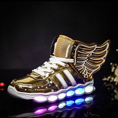 Led Light Sneakers Luminous USB Glowing Shoes Middle Heel Wing Shoes Summer Kids Children Light Shoe Boys Girls Sneaker TS021 #Affiliate