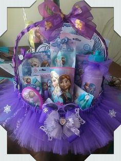 Frozen Gift Basket made by Norma's Unique Gift http://Basket.$60.00.It comes with a tulle basket, socks,character meal set and cup,toy,activity set.  Body wash or shampoo,brush,finger nail polish,puzzle,sunglasses,hand made bows/decorations, hair bow in front of basket is detachable. $60.00.Can personalize basket with girl's name.