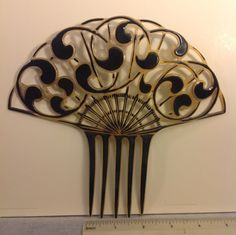 """Large celluloid hair comb 7"""" wide vintage 1930's two tone"""
