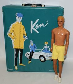 Vintage Mattel Barbie Boyfriend 1968 KEN Doll in 1962 Teal Color Ken Carry Trunk Case