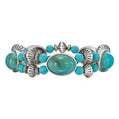 Western Summer Stretch Bracelet. Warm weather pairs perfectly with this western-inspired turquoise.