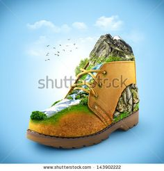 illustration of shoe with mountain and river. traveling by Vadim Georgiev, via ShutterStock