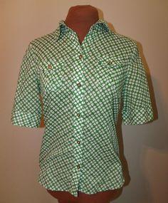 Banana Republic Size XS Green Geometric Short Sleeve Button Down Blouse LN #BananaRepublic #ButtonDownShirt #Casual
