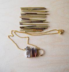 topographic lines necklace-yellowgrey