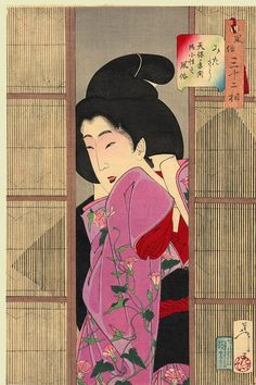 """Tsukioka Yoshitoshi, Looking inquisitive: the appearance of a maid in the Tempo era"""" (1830-1844), """"32 Aspects of Women"""", 1888"""