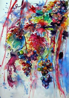 Buy Beautiful autumn... Grapes - perfect gift idea, Watercolour by Kovács Anna Brigitta on Artfinder. Discover thousands of other original paintings, prints, sculptures and photography from independent artists.