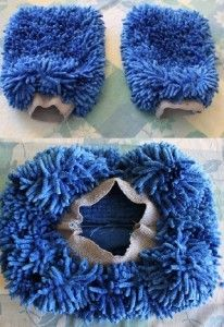 Make your own Steam Mop Cover/Cleaning pad out of two car wash mitts!