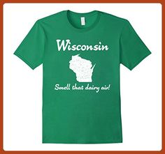 "Mens ""Wisconsin: Smell that dairy air!"" funny sconnie cow t-shirt 2XL Kelly Green - Funny shirts (*Partner-Link)"