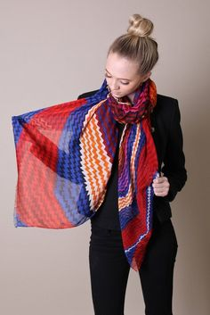 Women's Fiona Chevron Red Blue Multicolour Silky Soft Oversize Scarf Shawl: Amazon.co.uk: Clothing