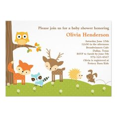 Cute Woodland Animal Invitations Invites