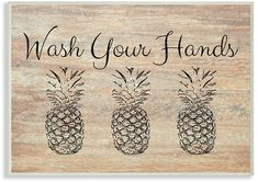 The Stupell Home Decor Collection Wash Your Hands Pineapple Wall Plaque Art, 10 Pineapple Kitchen, Pineapple Wall Decor, H Design, Dcor Design, White Picture Frames, Wood Plaques, Tropical Style, White Home Decor, Front Door Decor