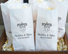 Engagement Party Favor Bags, Popcorn Buffet, He Popped The Question - Grease Resistant  - Custom Names