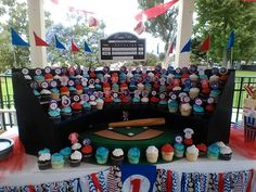 Baseball cupcake stand is so awesome!!!!