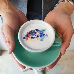 O barista Kangbin Lee une café e arte