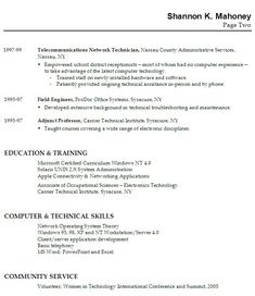 example of resume work experience