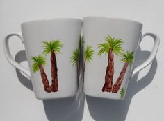 Palm Tree Coffee Cups Hand Painted Palm Tree by LisasPaintedCrafts