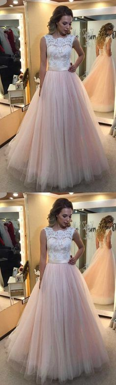 A-line Light Pink Tulle with White lace appliqued Long Backless Prom Dress