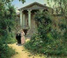 Бабушкин сад-the house of the Baumgarten in Moscow. Russian Painting, Russian Art, Figure Painting, Russian Style, Painting Canvas, Canvas Art, Cool Landscapes, Landscape Paintings, Oil Paintings