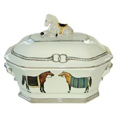 """This elegant Devon tureen features figures on both sides and a sitting horse on the top. It is handmade and hand painted and measures 14""""L x 11""""W x 10""""H.  Product in photo is from www.wellappointedhouse.com"""