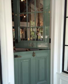 New Farrow & Ball paint color, Smoke Green, on Sag Harbor door - Tom Samet