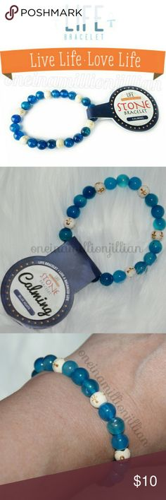 """Genuine Blue Agate CALMING Life Bracelet New with Tags Attached - Never Worn  One Size Fits Most - Stretch  ☆ Measures approx 2 1/2"""" across unstretched ☆ Made of Natural Blue Agate & wooden beads  LIVE A BALANCED LIFE  Blue Agate is believed to assist people in reaching higher spiritual spaces & inner attunement. Meditate with it, visualizing yourself speaking calmly & peacefully.  Check my page for more great items & discounts. #oneinamillionjillian Life Bracelet Jewelry Bracelets"""