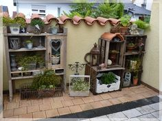 LOVE this for the garden! #crates #plants