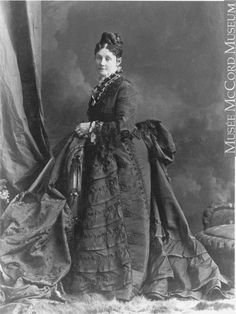 Victorian fashion: First Bustle Period. Bethune, Montreal, QC, 1875 Silver salts on paper mounted on paper - Albumen process © McCord Museum 1870s Fashion, Edwardian Fashion, Historical Costume, Historical Clothing, Vintage Photographs, Vintage Photos, Romantic Pictures, Fashion Plates, My Images