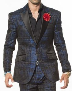 New Angelino brand peak lapel two toned blue tuxedo jacket for men.