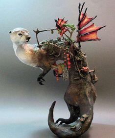 Intricate Fantasy Animal Sculptures by Ellen Jewett Fantasy Animal, Fantasy Creatures, Art Sculpture, Animal Sculptures, Animal Statues, Fantasy Kunst, Fantasy Art, Ellen Jewett, Steampunk Animals