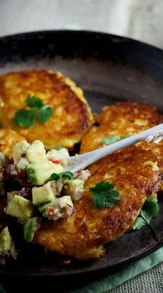 Cheesy Corn Cakes with Spicy Avocado Salsa  I thought you would like bc you like corn and you love avocadoes!