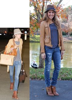 Good basic outfit - hat, brown jacket, striped tee, jeans, brown boots. I'll probably wear it with wider jeans and cowboy boots instead of ankle boots.
