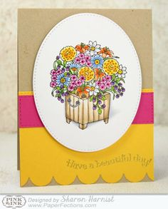 From Sharon Harnist via www.PaperFections.com -- Have A Beautiful Day sentiment and Summer Planter stamps from Pink Ink Stamp Company, colored with @copicmarker ... coloring tutorial included!