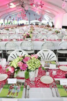 pink & green reception