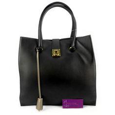 S.Ferragamo-Tote Black/Grey 2tone Leather Good Condition PriceRm2xxxRef.code-(GRUL-4) More Info Pls PM Or Email  ( luxuryvintagekl@ gmail.com )